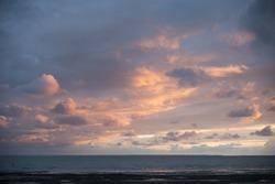 Atmospheric sunset over the ocean near La Spezia, Cinque Terre, Italy, Europe