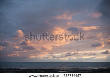 Atmospheric sunset over the ocean near La Spezia, Cinque Terre, Italy, Europe