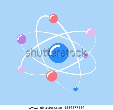Atom and small particles isolated icon of chemical element raster. Molecular structure, protons and neutrons moving on spiral, scientific research info