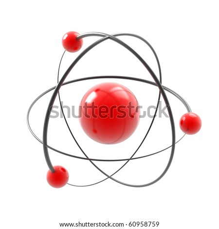 atom 3d illustration isolated on white