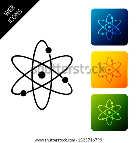 Atom icon isolated on white background. Symbol of science, education, nuclear physics, scientific research. Electrons and protonssign. Set icons colorful square buttons