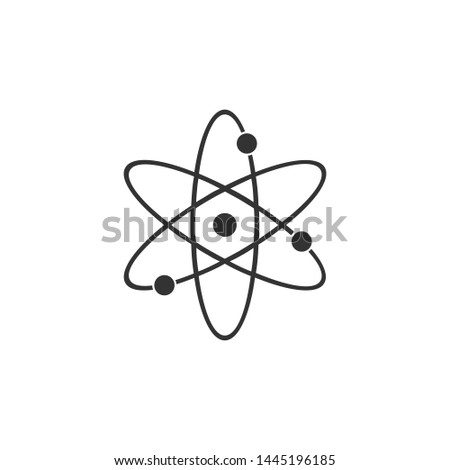 Atom icon isolated. Symbol of science, education, nuclear physics, scientific research. Electrons and protonssign. Flat design