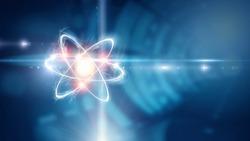 Atom molecule. Mixed media