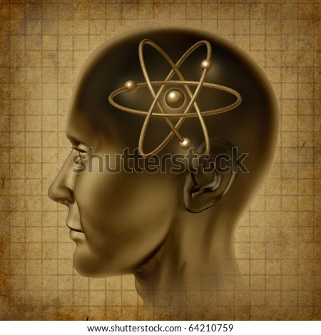 atom molecule science symbol brain scientific mind thinker grunge vintage old parchment document