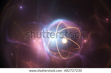 Atom nuclear model on energetic background, 3D illustration