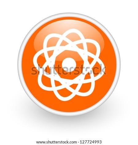 atom orange circle glossy web icon on white background