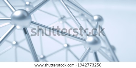 Atom Spheres Array made of shiny metal spheres. Science and technology background. Grid of linked spheres. Nano sphere with hexagon grid - nanotechnology graphene molecule. 3D illustration