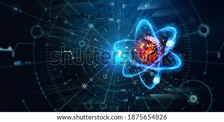 Atom, structure and research. Artificial intelligence and scientific discoveries. 3D illustration of a nanostructured core. Digitalization of science. Physics and hi-tech