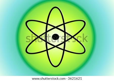 atom symbol on green circle background stock photo 3621621