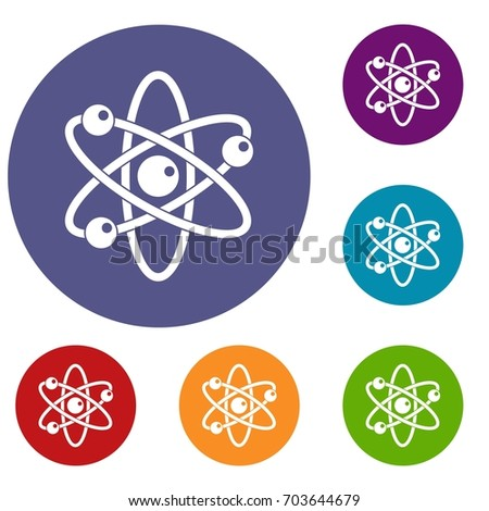 Atom with electrons icons set in flat circle red, blue and green color for web