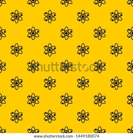 Atom with electrons pattern seamless repeat geometric yellow for any design