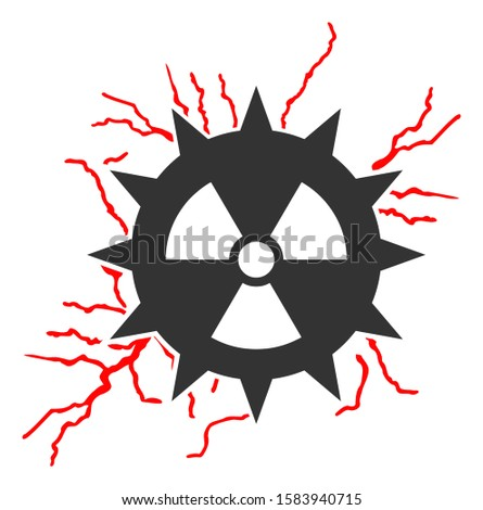 Atomic power sparks raster icon. Flat Atomic power sparks pictogram is isolated on a white background.