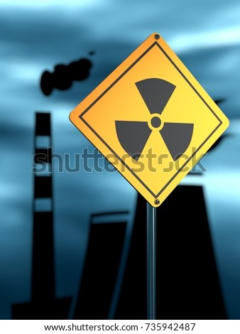 Stock Photo Atomic power station silhouette. Nuclear security theme. Warning yellow road sign with radioactivity icon. 3D rendering