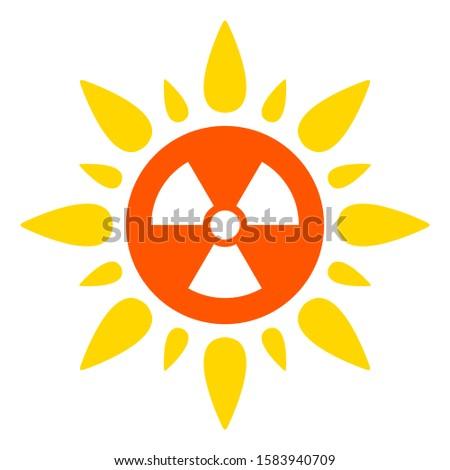 Atomic radiation raster icon. Flat Atomic radiation symbol is isolated on a white background.