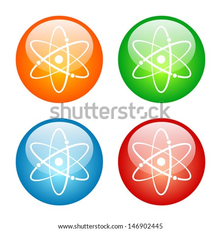 Atomic Symbol Icon Colorful Glass Icon Set. Raster version, vector also available.