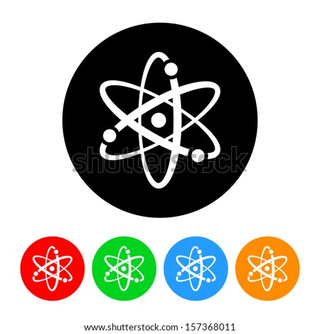 Atomic Symbol Icon with Color Variations.  Raster version.