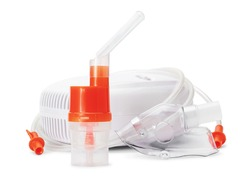 Atomizing cup with nebulizer mouthpiece and mask for compressor inhaler isolated on white background. Medical equipment for inhalation therapy for asthma and respiratory diseases.