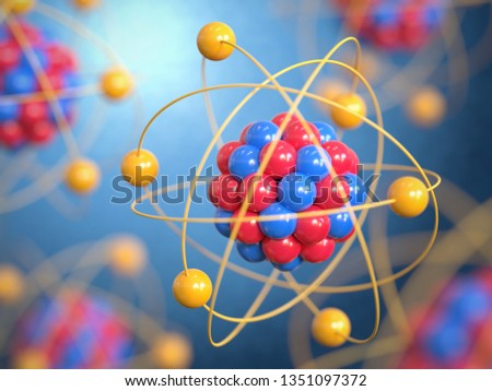 Atoms 3d rendering, protons neutrons and electrons