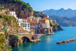 Atrani town by Amalfi on beautiful mediterranean Amalfi coast, Naples, Italy