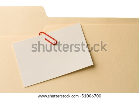 Attachment to file folder 2. Writing your own text on the white card.