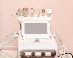 Attachments to device HydraFacial facial skin care machine in spa clinic for anti-aging or acne treatment. The concept of aesthetic medicine, beauty tools, latest technologies in beauty industry