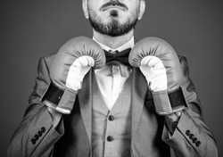 Attack and defense concept. Achieve success. Tactics proven to work. Criminal defense lawyer planning out strategies. Businessman wear boxing gloves. Best criminal defense lawyer strategies.