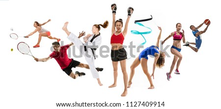 Attack and winners. Sport collage about kickboxing, basketball, badminton, taekwondo, tennis players,athletics, rhythmic gymnastics, running and jumping in height. Fit men and women isolated on white