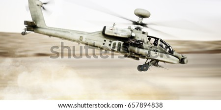 Attack Apache longbow helicopter gunship flying fast and low with dust debris in its wake. 3d rendering