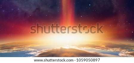 "Stock Photo Attack of the asteroid on the Earth ""Elements of this image furnished by NASA"