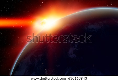 """Attack of the asteroid on the Earth """"Elements of this image furnished by NASA #630163943"""