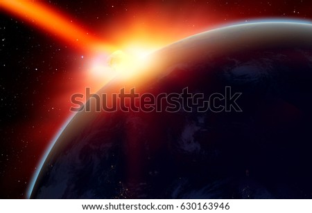 """Attack of the asteroid on the Earth """"Elements of this image furnished by NASA #630163946"""