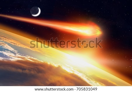 "Attack of the asteroid on the Earth ""Elements of this image furnished by NASA #705831049"