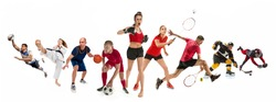 Attack. Sport collage about kickboxing, soccer, american football, basketball, ice hockey, badminton, taekwondo, tennis, rugby players. Fit men and women active athletes isolated on white background