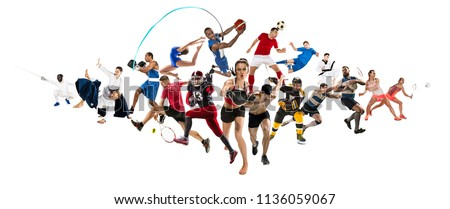 Attack. Sport collage about kickboxing, soccer, american football, basketball, ice hockey, badminton, taekwondo, aikido, tennis, rugby players and gymnast isolated on white background with copy space #1136059067