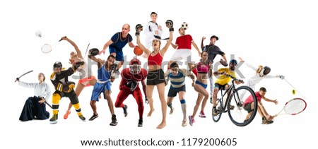 Attack. Sport collage about kickboxing, soccer, american football, basketball, ice hockey, badminton, taekwondo, aikido, tennis, rugby players and gymnast isolated on blue background with copy space #1179200605