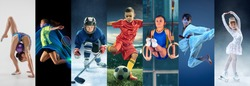Attack. Sport collage about teen or child athletes or players. The soccer football, badminton, ice hockey, figure skating, karate martial arts, rhythmic gymnastics. Little boys and girls in action or