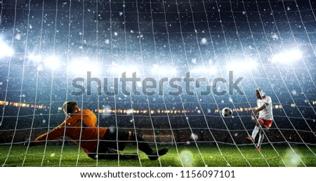 Attacker scores a goal and celebrates victory on a professional soccer stadium while it`s snowing. Stadium and crowd are made in 3D.