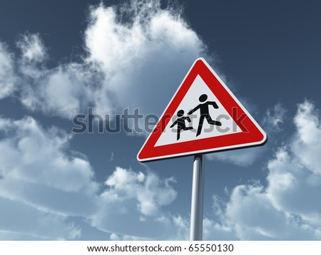 attention children road sign under cloudy blue sky - 3d illustration