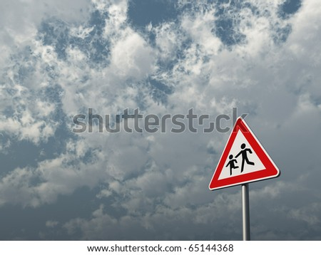 attention children roadsign under cloudy blue sky - 3d illustration