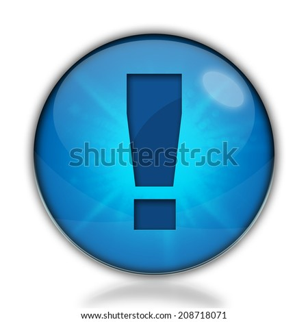Attention icon. Shiny glossy internet button on white background.