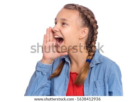 Girl mouth teen open Say Aaah!