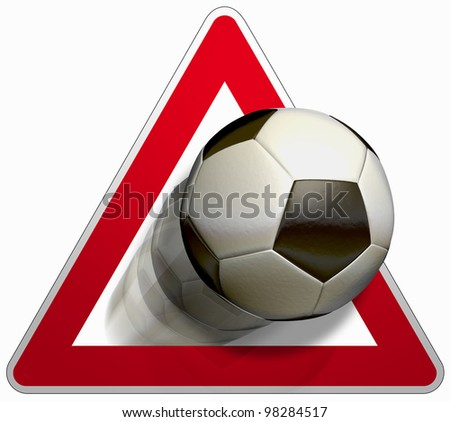 Attention soccer The road sign for yield and a soccer ball in black and white - stock photo