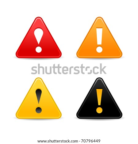 Attention warning icon web 2.0 button with exclamation mark. Satin triangle shape with shadow on white. Bitmap copy my vector ID: 66298699