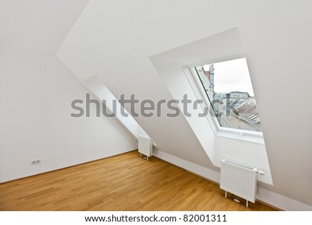 attic flat with wooden floor