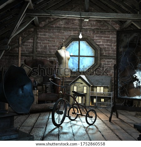 Attic in the dark and scary house of terror, 3D illustration