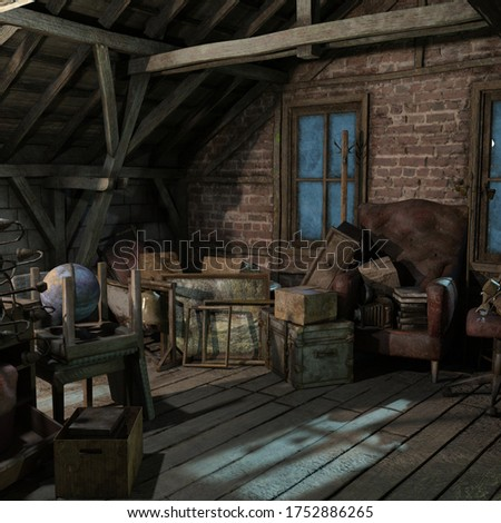 Attic in the dark and scary house of terror,3D illustration