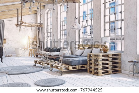 attic living room interior. Pallet furniture .3d illustration