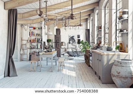 Attic loft apartment with kitchen interior. 3d rendering concept