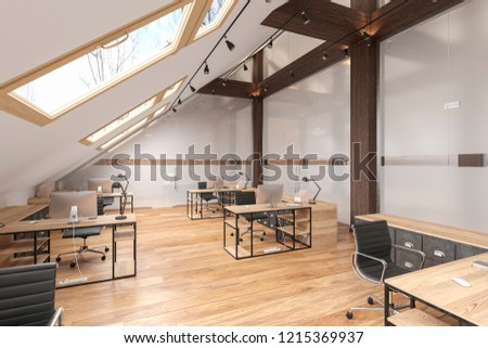 Attic office open space with beams, glass doors, brick wall, wooden floor, furniture and computers. 3d render illustration mock up.