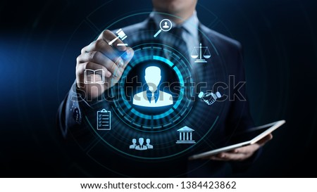 Attorney at law lawyer advocacy legal advice business concept. Foto stock ©